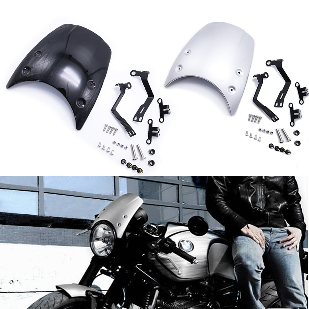 Motorcycle Aluminum Windshield Windscreen For BMW R nine T 2014-2019 Universal Motorcycle Parts Wind Deflector Windshield image