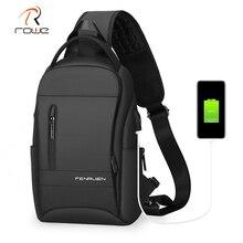 Rowe çok fonksiyonlu anti hırsızlık omuz çantası erkekler erkek göğüs çantası USB şarj su geçirmez kısa seyahat Crossbody omuzdan askili çanta