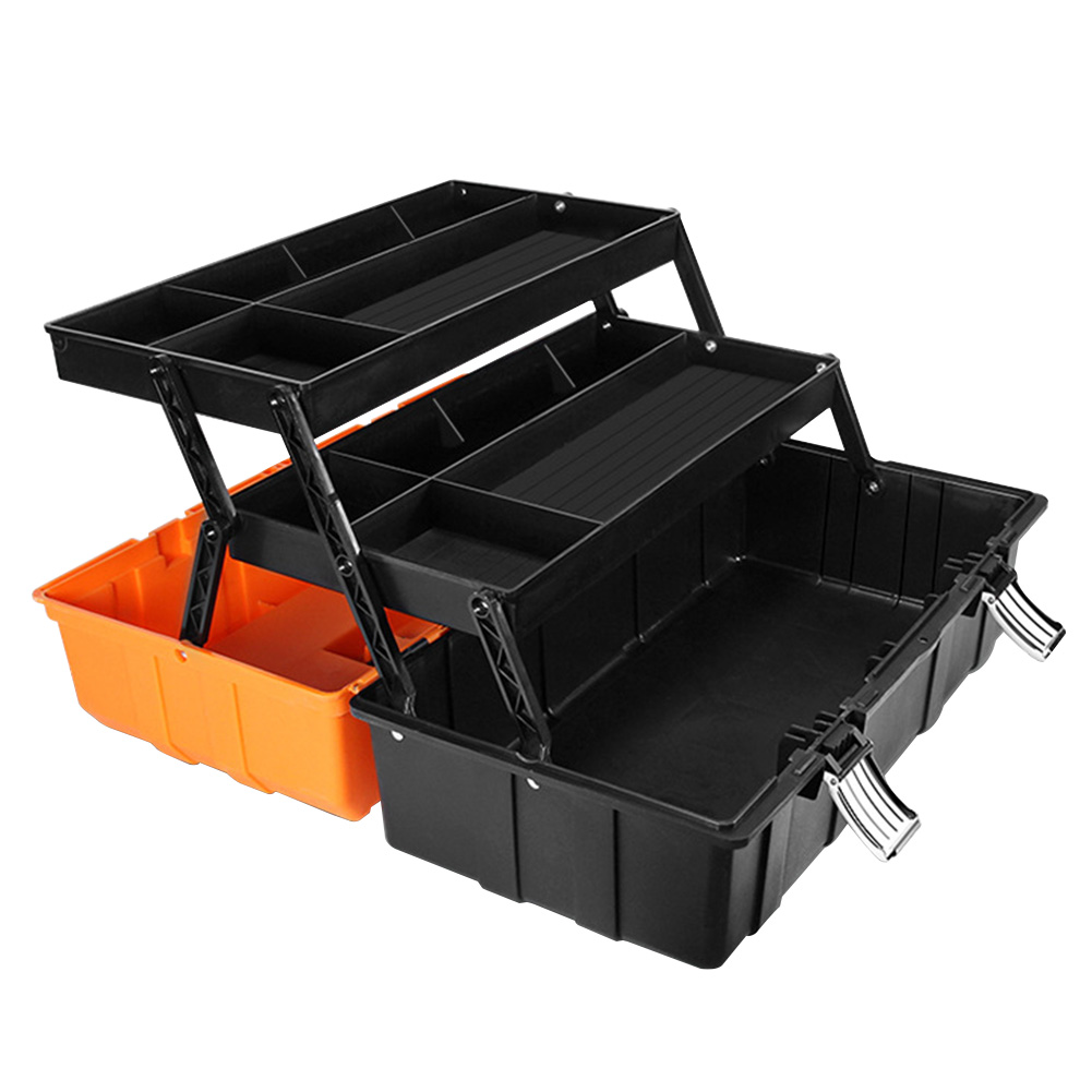 17inch Household Large Capacity Practical Organizer Sturdy Portable Craft Repair Three Layers Tool Box Storage Case Foldable