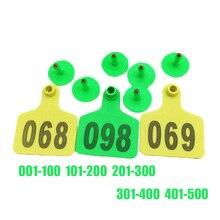 100 шт./компл. фермы животных корова скот Пластиковые Цифровые нумерации NO.001-100 Ушная бирка для скота помеченные идентификационные
