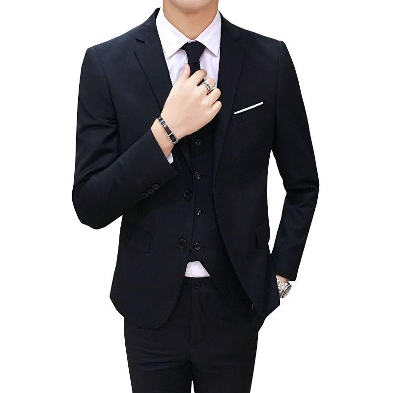 Suit Men Three-piece Set Business Formal Wear Business Suit Slim Fit Best Man Groom Marriage Formal Dress Autumn