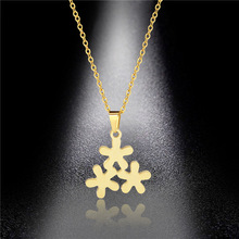 Stainless Steel Lucky Trefoil Necklace Pendant Female Titanium Steel Small Fresh Golden Flower Pendant Pendant men titanium steel overbearing tiger head pendant necklace so235
