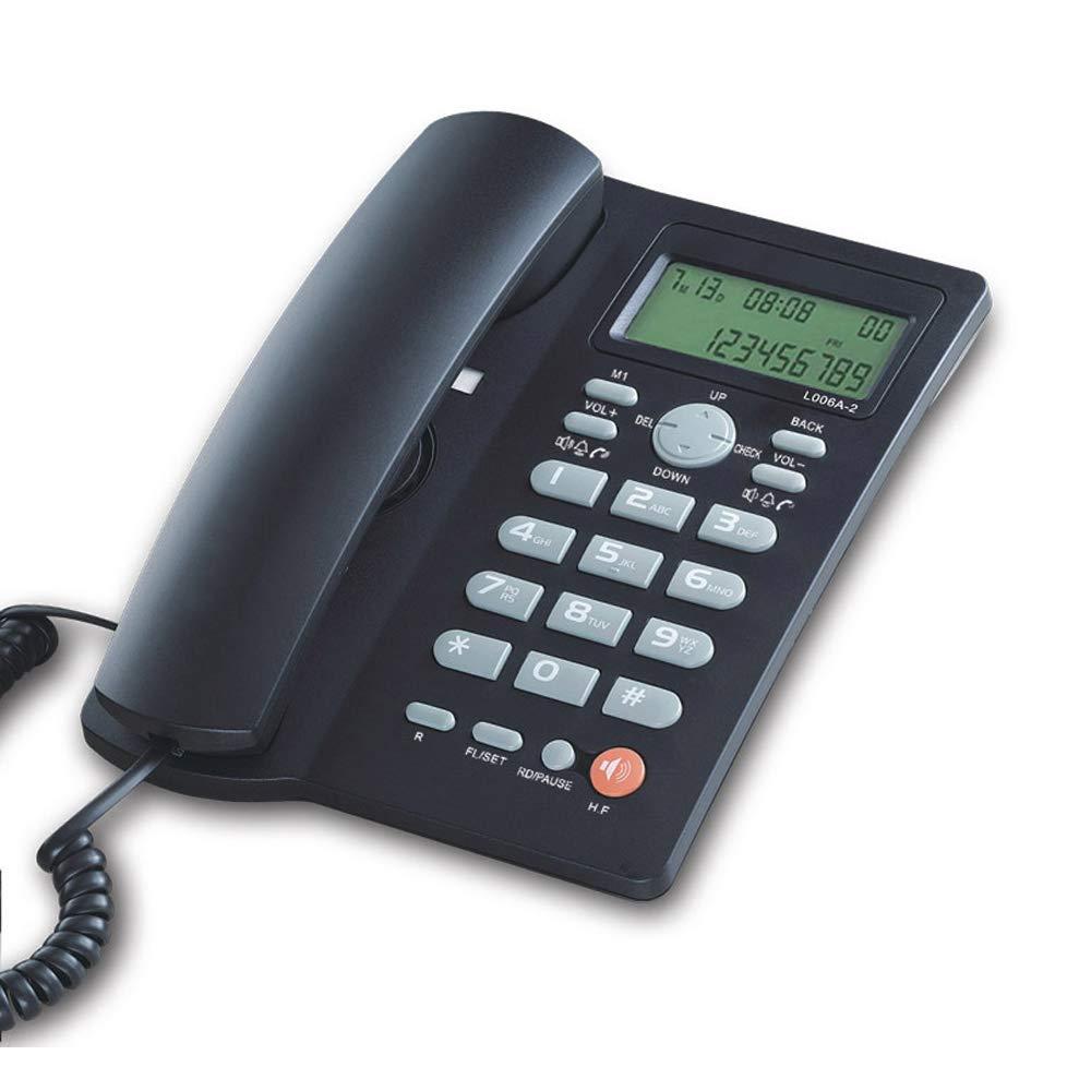 Teléfono con cable con pantalla de identificación de llamadas, teléfono fijo manos libres, teléfono de oficina con altavoz, teléfonos negros para el hogar
