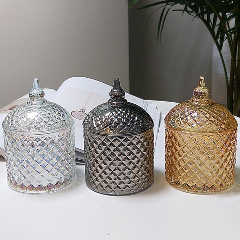 Amber Crystal Glass Storage Jar Lids Candy Jar Glass 450ml Container Cookie Cotton Swab Box Storage Interior Tabletop Decoration