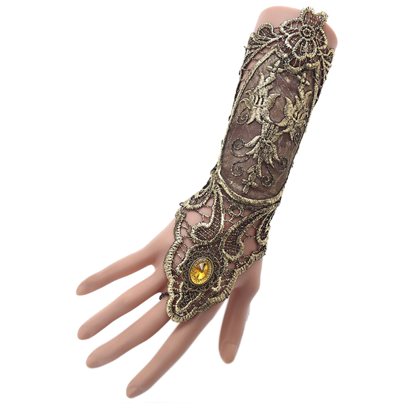 Women Steampunk Style Lace Fingerless Long Gloves Lace Hollow-Out Chain Bracelet Skid Resistant Gloves Goth Party Costumes