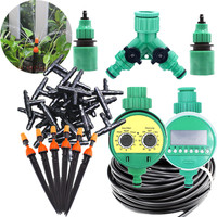 25m Atomizing Adjustable Nozzle  On Stake With Water Timer Drip Irrigation Equipment Garden Timing Automatic Watering Kits|Garden Sprinklers| |  -