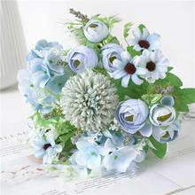 3 sztuk Mini pąk róży herbaty sztuczne kwiaty na ślub dekoracji wnętrz biżuteria akcesoria Scrapbooking Diy akcesoria modelarskie tanie tanio Róża Bukiet kwiatów Ślub Jedwabiu Fake Flowers
