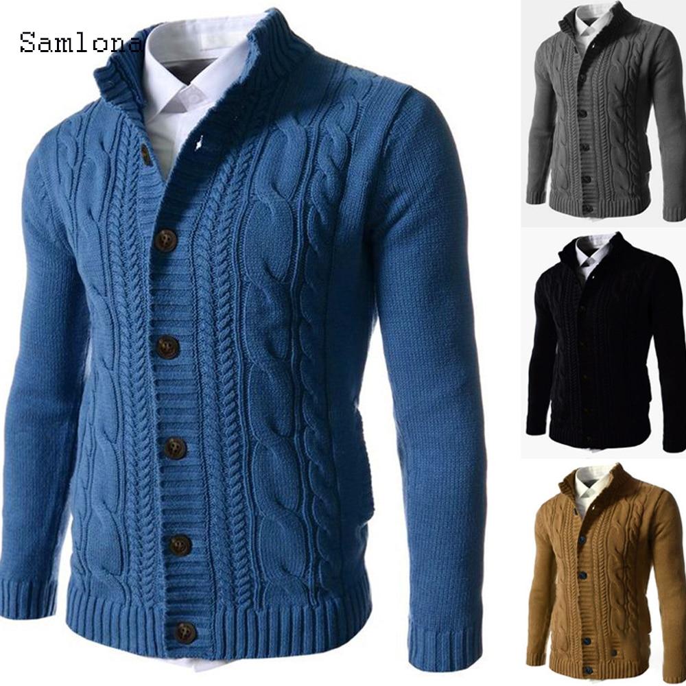 Samlona Autumn Winter Clothes Casual Stand collar Sweater Coat Men Sweatercoat Cardigan Long sleeve Slim Knitted Sweater Coat
