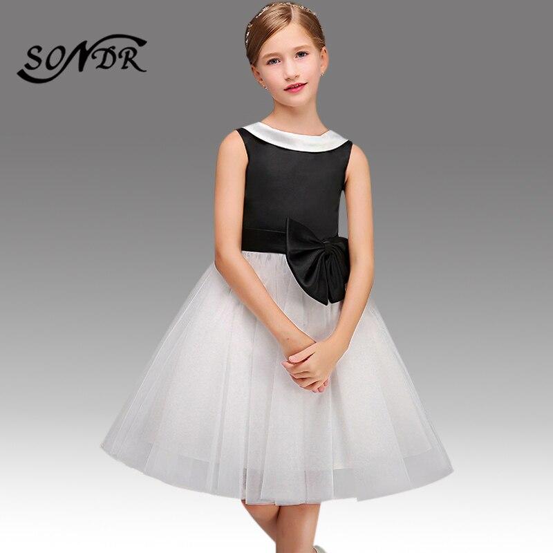 Bow Flower Girl Dress HT120 Elegant Black White Patchwork Flower Girl Dresses For Weddings 2020 O-neck Little Kids Ball Gowns
