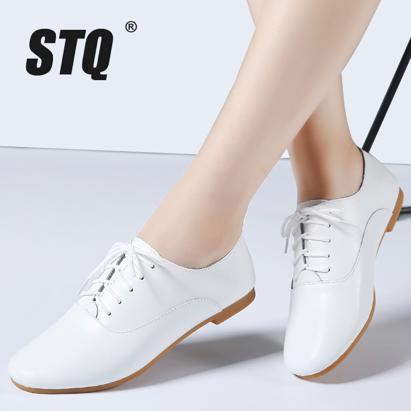 STQ 2020 Spring Women Oxford Shoes Ballerina Flats Shoes Women Genuine Leather Shoes Moccasins Lace Up