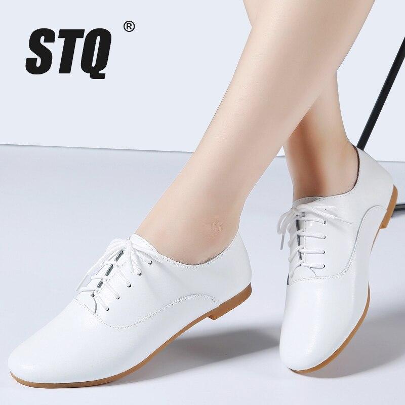 Stq 2020 primavera mulher oxford sapatos bailarina apartamentos sapatos femininos sapatos de couro genuíno mocassins rendas até mocassins sapatos brancos 051
