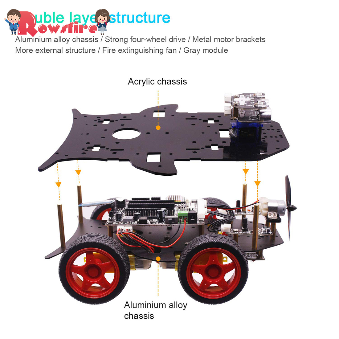 Rowsfire Roboter Auto 4wd Programmierung Stamm Bildung Off road Licht Tracking Roboter Spielzeug Mit Tutorial Für Arduino Heißer Verkauf