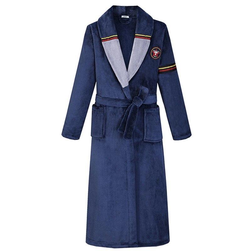 Robe Winter New Thicken Men Nightgown Sleep Dress Padded Flannel Long Kimono Bathrobe Gown Warm Casual Coral Fleece Sleepwear
