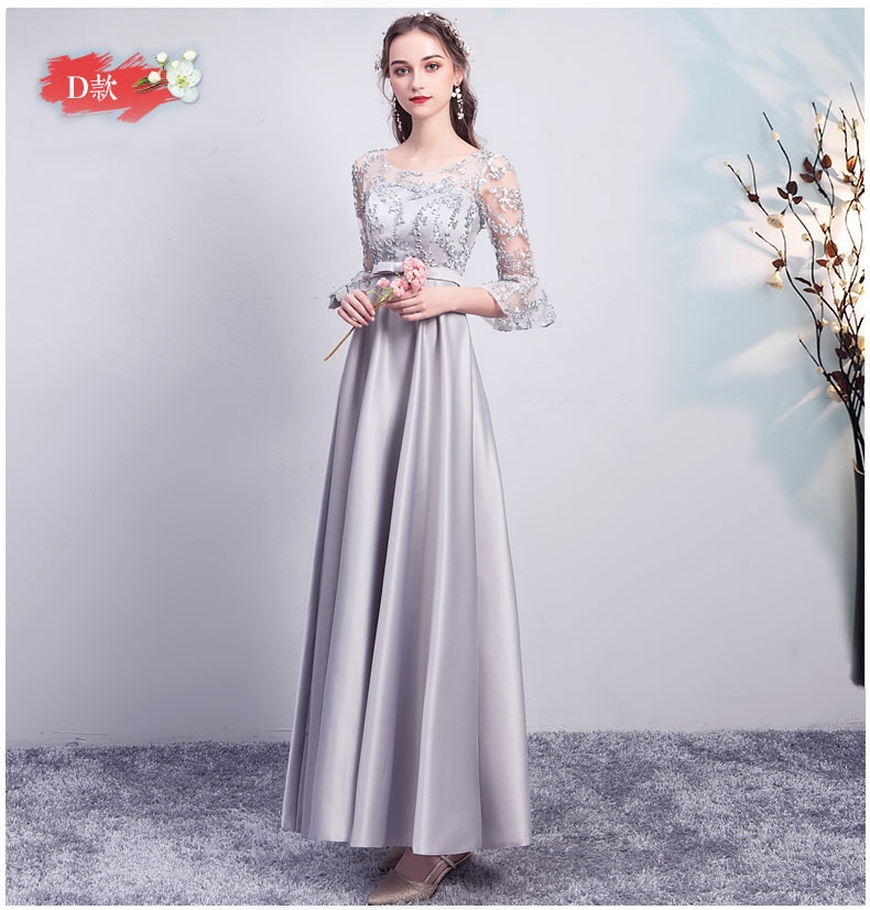 Wedding Party Dress For Women Gray Plus Size Burgundy Bridesmaid Dress Satin Long Floor-Length Sexy Dress Simple Vestidos Mujer