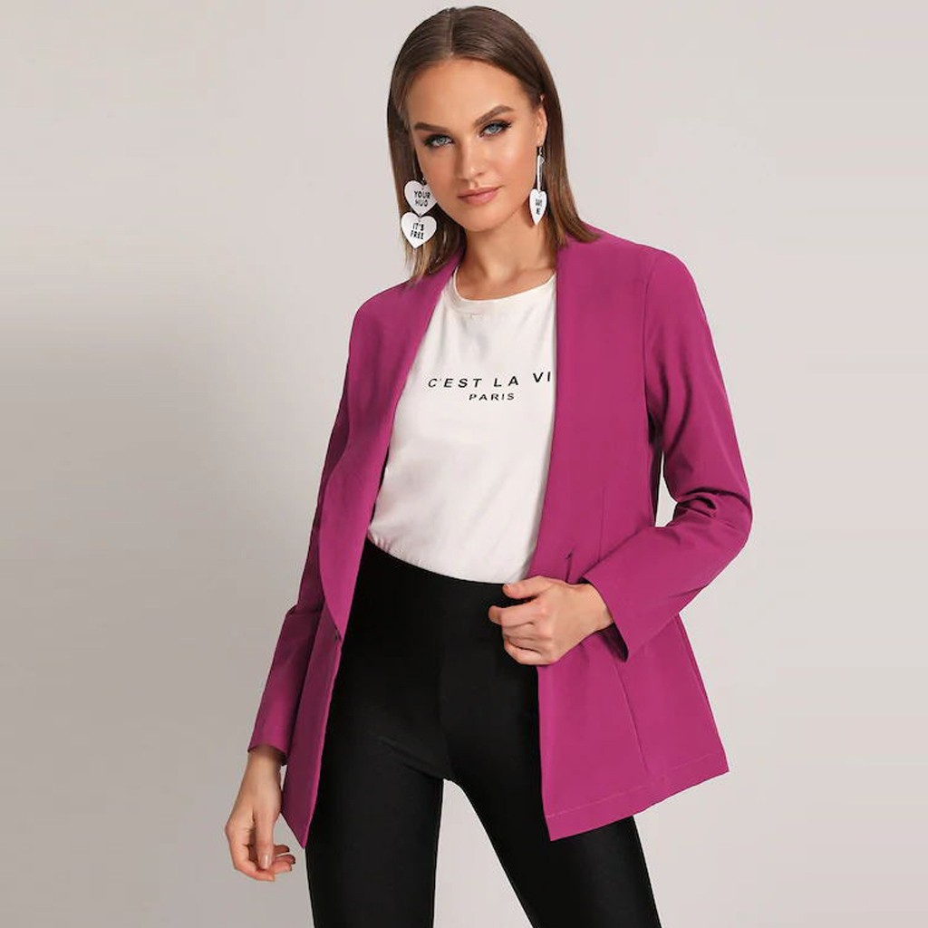 Autumn Solid Women Blazer Suit Coat Autumn Ol Work Bussiness Jacket Plus Size Jackets Veste Femme Slim Ladies Blazer#J30