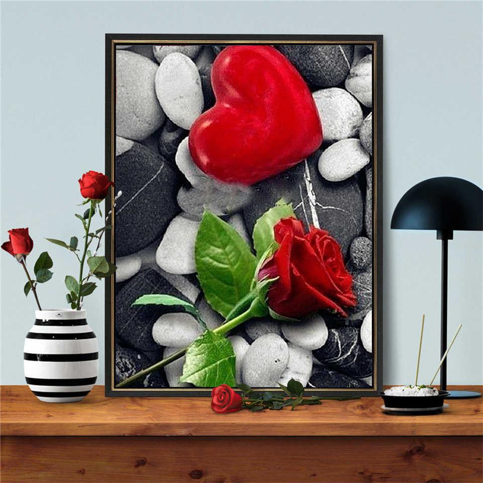 Azqsd Lukisan Berlian Cinta Hati Gambar Berlian Imitasi Berlian Bordir Mawar Bunga Diamond Mosaic Penuh Tampilan Dekorasi Rumah