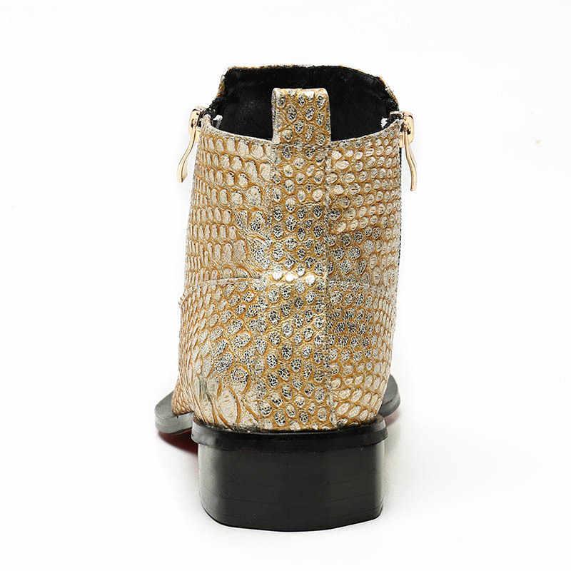 חורף חם נעליים גבוהה למעלה Mens 2020 חדש מעצב סגנון מתכת מגמת מגניב ציפר קרסול מגפי זכר הנעלה לנשימה נעליים זהב