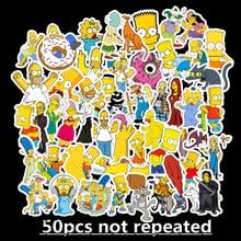 50 Pcs/Lot Custom Stickers Naklejki Kawaii School Sticky Sticker Pegatinas Cartoon The Simpsons Waterproof Removable TZ108D 50 pcs lot naklejki kawaii school viscous notes papelaria tide sports shoes stationery stickers waterproof removable tz083g