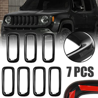 Para jeep renegado 2015-2018 7 pçs durável abs plástico frente grill grille inserir capa guarnição quadro mayitr