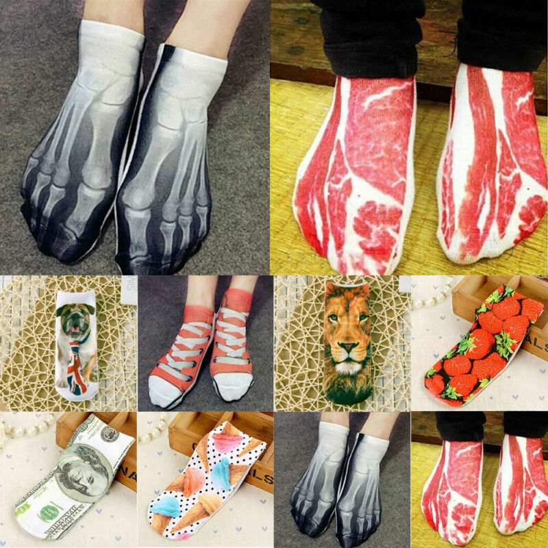 Funny 3D  Socks Novelty Soft Bacon Printed Art Ankle Socks Pork Bucks Meat Socks Gifts