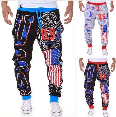 2019 New Style Men Printed National Flag Men Harem Pants USA Printed Letter Men Loose-Fit Gymnastic Pants K06