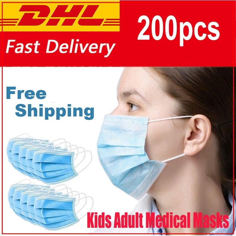 100pcs 3 Layer Disposable Masks KF94 Elastic Earloop Protective Surgical Mask Non-woven Anti Virus Mascarilla Coronavirus Mask