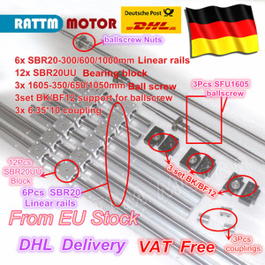 3 juegos de tornillos de bola RM/SFU1605-350/650/1050 + 3 set BK/BF12 + 3 juegos de rieles de guía lineal SBR20 + 3 acopladores para máquina de fresado CNC