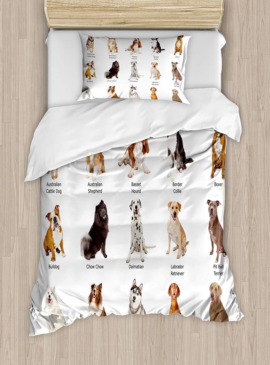 Dog Duvet Cover Set Group Different Puppy Breeds Family Type Species Dalmatian Husky Bulldog Image Print Decorative 2 Piece Bed image