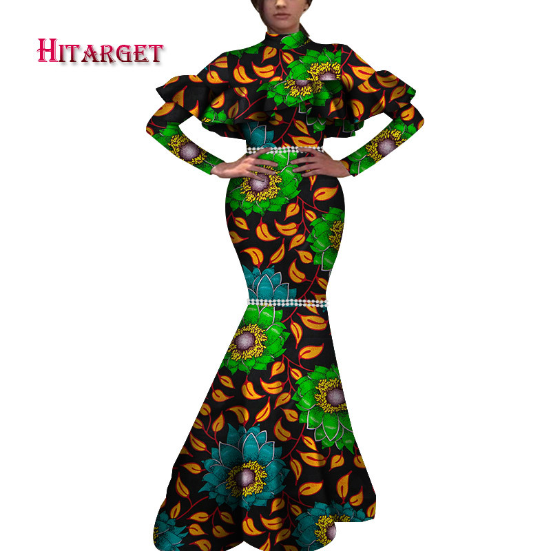 stock size low price african women long sleeve stand collar mermaid floor length dashiki print party dress WY5935