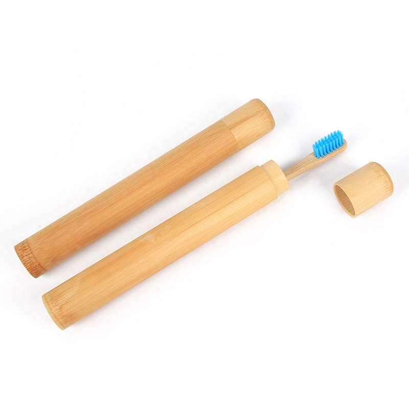 Hand Made Storage Travel Home Toothbrush Holder Case With Lid Reusable Bamboo Carrier Organizer Portable Eco Friendly Tube Shape
