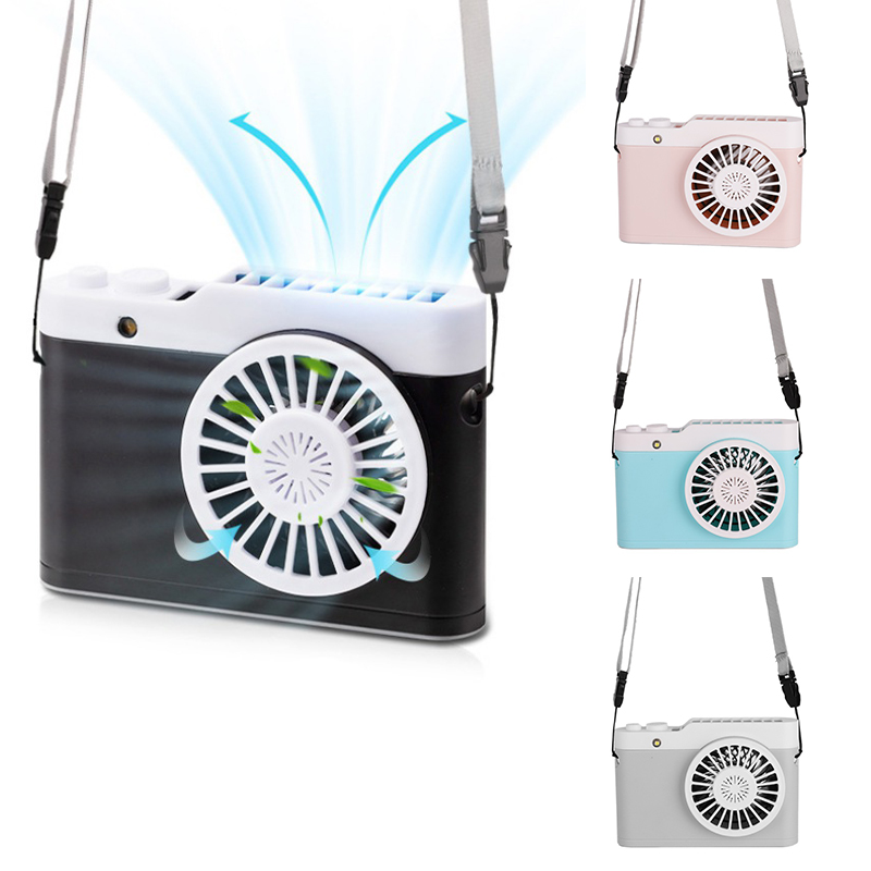 Ship From US Rechargeable Wearable USB Portable Hand Free Neckband Fan  Personal Mini Neck Double Fans 3 Speed Adjustable Fans