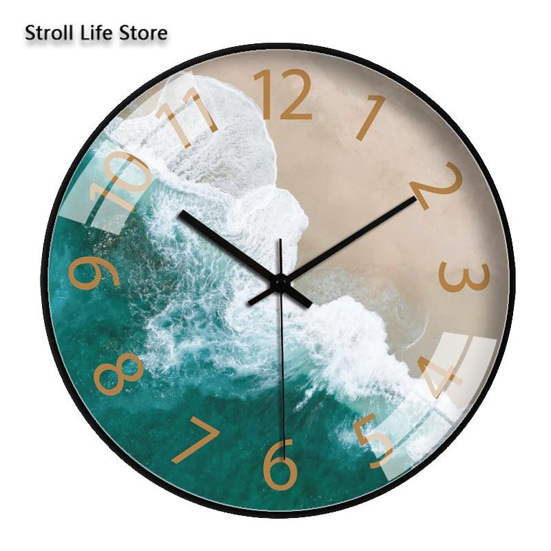 Grand Moedrn horloge murale or silencieux salon créatif mer Art Quartz cuisine horloge horloges murales montre décor à la maison cadeau FZ827