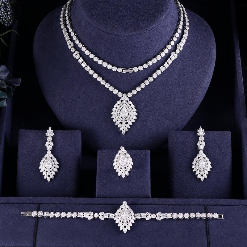 Earrings Bridal-Jewelry-Sets Wedding-Necklace Janeklly Cubic-Zirconia Flower Women Accessories