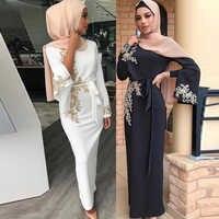 Black White Muslim Dress Abaya Dubai Arabic Caftan Abayas For Women Ramadan Kaftan Hijab Pearl Dresses Islamic Clothing Vestidos