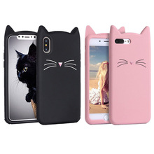 New Cute Smile Glitter Bearded Cat Case For iphone SE 5 5S 5C 6 6S 7 8 Plus X XR XS 10 Max Squishy Cover Mobile Phone Bags