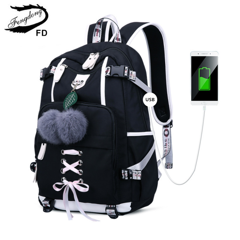 FengDong Korean Style High School Backpack For Teenage Girl Fashion Black White Student Girls Backpack Schoolbag Cute Book Bag