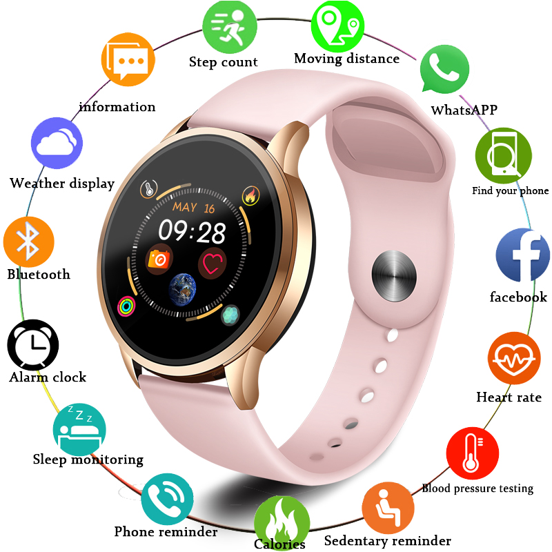LIGE 2019 Hot Sale Smart Watches Heart Rate Blood Pressure Monitor Smart Watch Women Smartwatch Sport Watch For IOS Android+Box