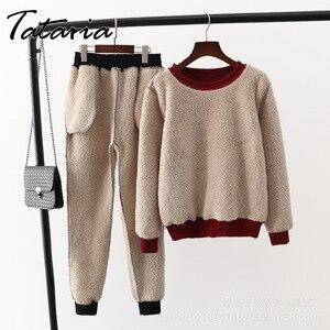 Image 2 - Tataria 2 חתיכה אימונית לנשים חורף ארוך שרוול לעבות חולצות נשים של חם חליפות נשי קטיפה מזדמן ספורט חליפה