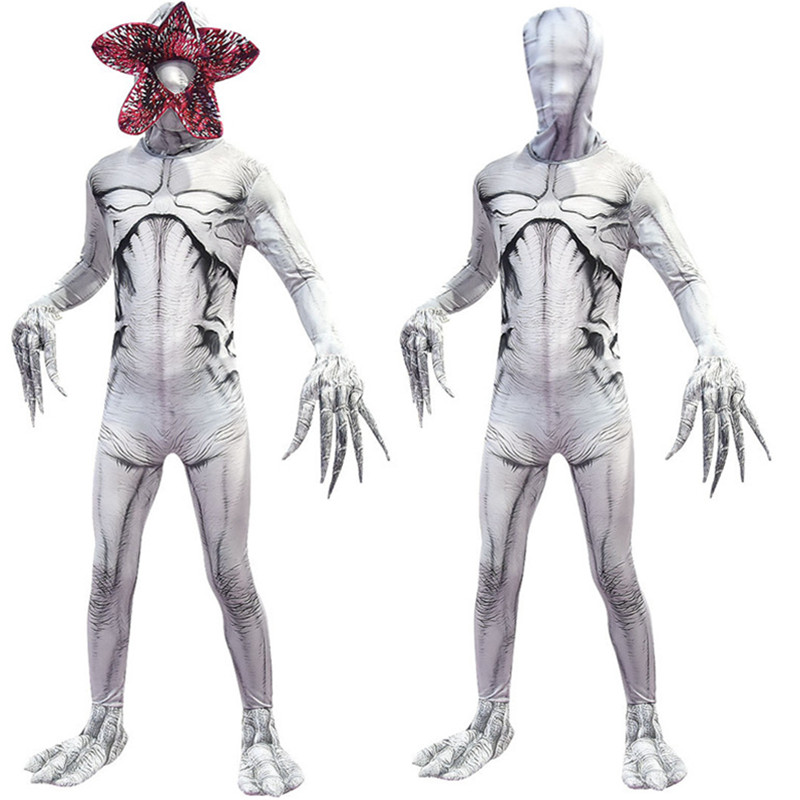 Adult Kids Stranger Things White Demogorgon The Monster Cosplay Costume Jumpsuit Mask Halloween