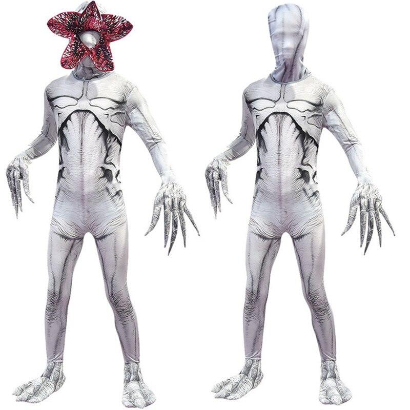 Adult Kids Stranger Things White Demogorgon The Monster Cosplay Costume Jumpsuit Mask Halloween