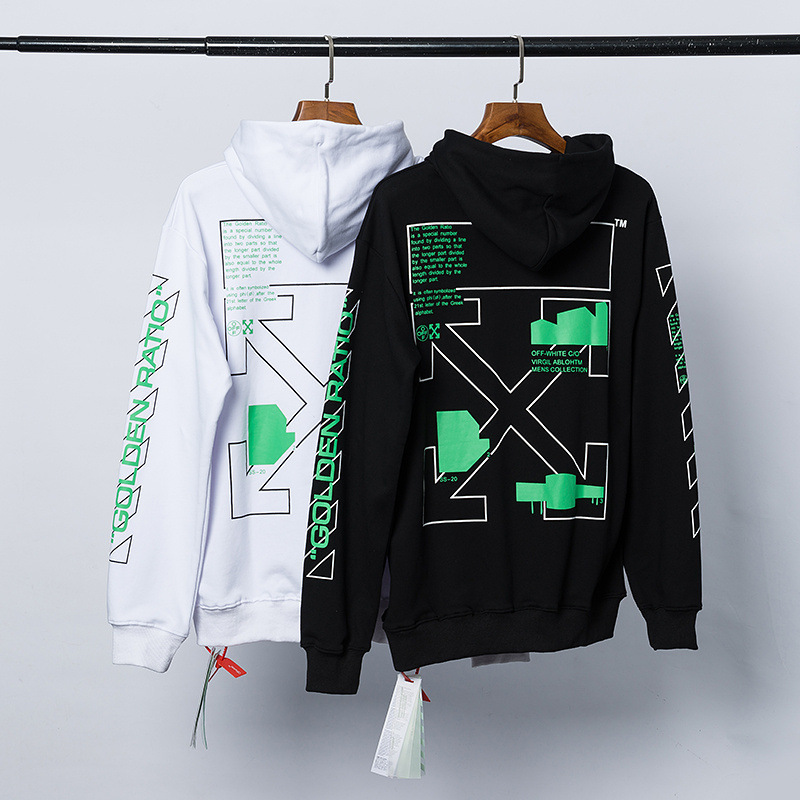 green printed arrows (black white) european version top Streetwear men women Hoodie Sweatshirt