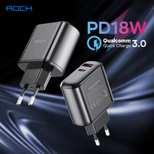 ROCK 18W PD Charger Dual Port Quick Charge 3.0 USB Type C Fast Charger For iPhone 12 Mini 12Pro Max Samsung Xiaomi Phone Charger