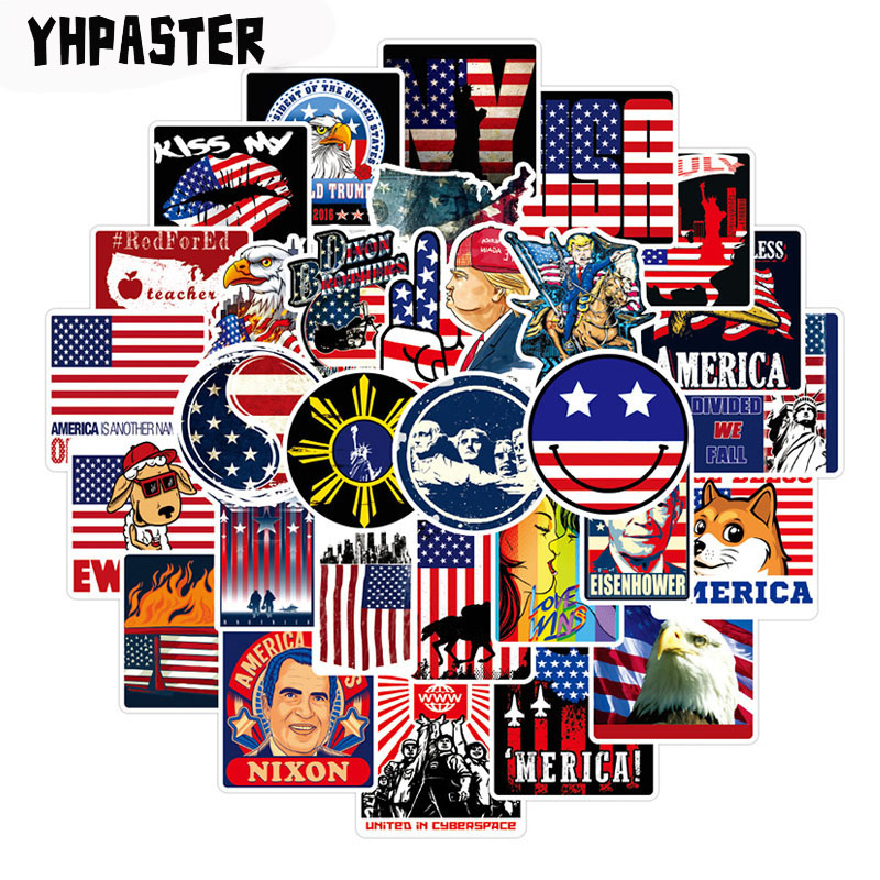 50pcs/pack USA President Stickers Donald Trump Stickers For Laptop Luggage Motorcycle Phone Skateboard Pegatinas