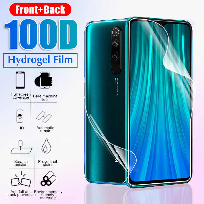 100D Front+Back Protective Hydrogel Film For Xiaomi Redmi 4x K20 Pro Note 7 8 Pro Full Cover Screen Protector Film Not Glass