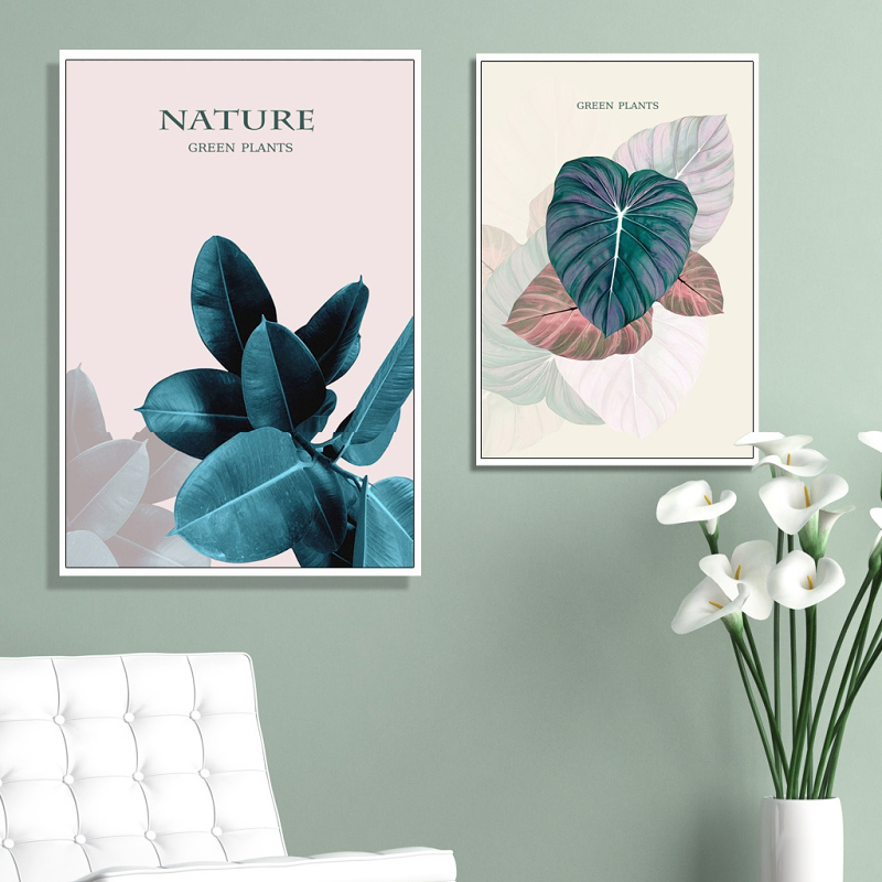 Canvas Poster Print Modern Abstract Plant Leaves Nordic Decorative Pink Flower Green Plants Poster Print Canvas Pictures 20 7(China)
