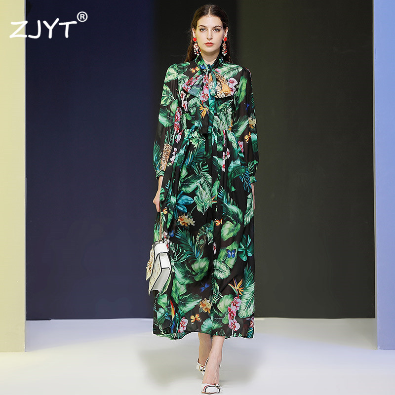 High Fashion Runway Dress 2020 New Spring Woman Clothes Elegant Lady Full Sleeve Floral Printing Long Chiffon Boho Beach Dress