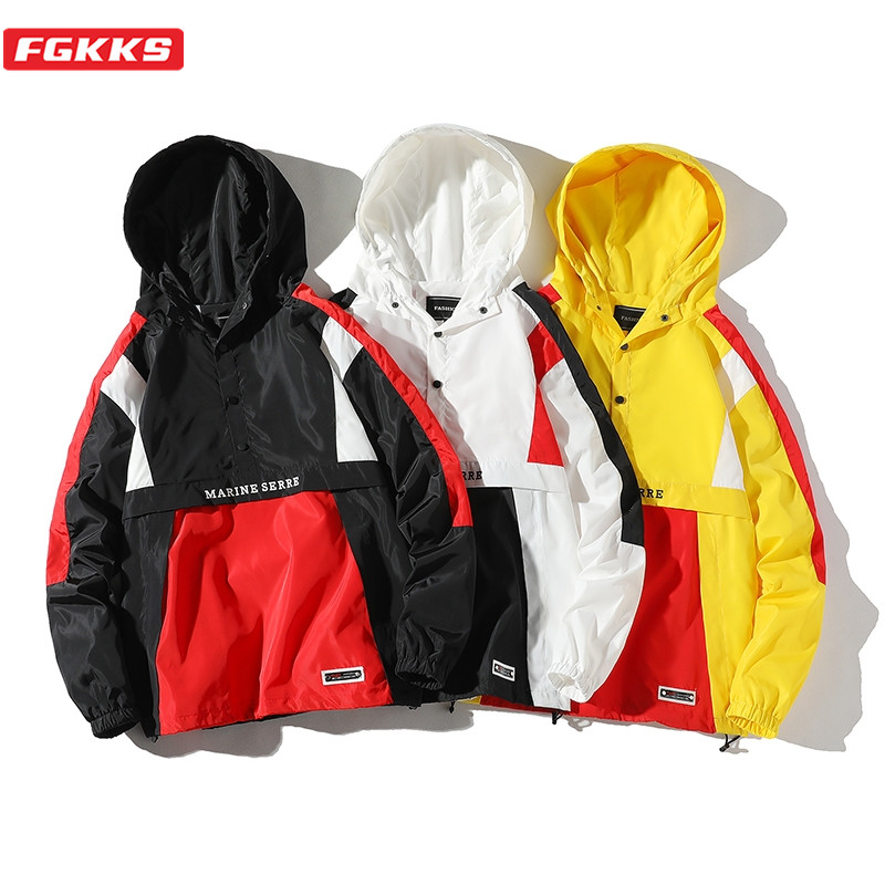 FGKKS Trend Brand Men Fashion Jackets Spring New High Street Men's Patchwork Hooded Jacket Coats Windproof Casual Jacket Male