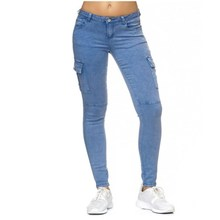 Womens Military Skinny Jeans Woman Cargo with Multi Side Pockets Women Hip Hop Street Wear Casual Denim Pencil Pants