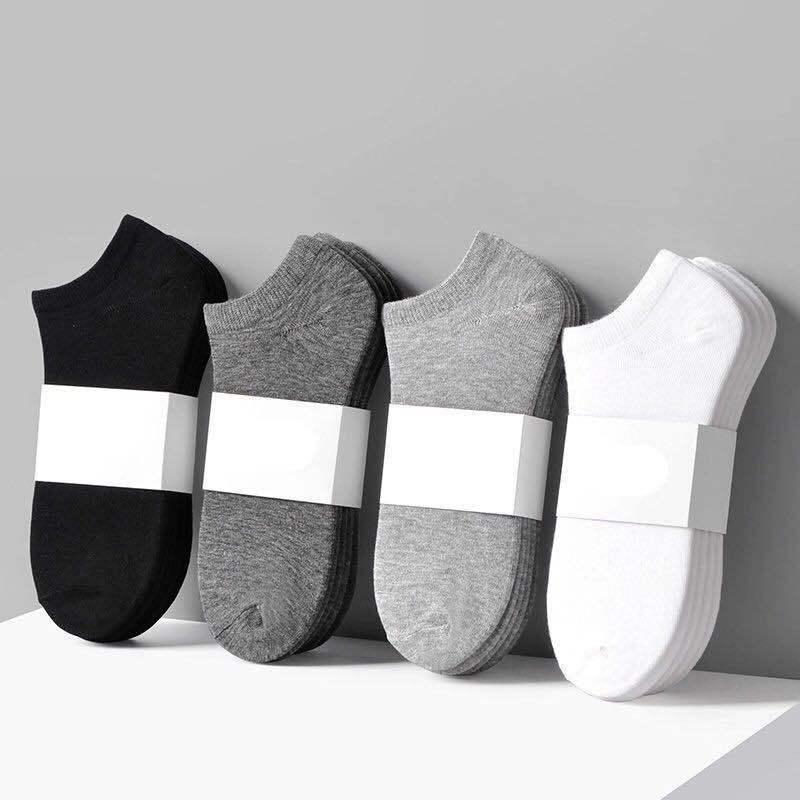 10 pares mulheres homem meias respirável meias esportivas cor sólida barco meias confortáveis algodão tornozelo meias branco preto