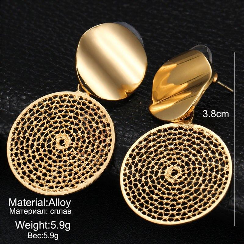 17 км винтажные Золотые круглые металлические серьги-гвоздики с блестками для женщин, модные серьги с полой сеткой, корейские ювелирные изделия, вечерние серьги, подарок